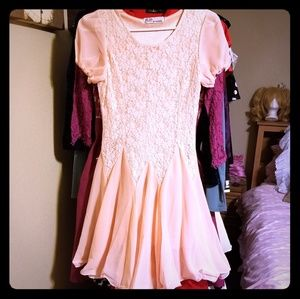 Pink Lolita Princess Lace Chiffon Ruffle Hem Dress